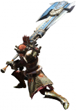 Render cazador hacha espada juego Monster Hunter 4 Nintendo 3DS.png
